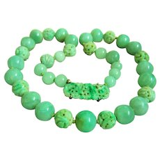 """Amazing Estate Vintage Natural Carved and Smooth Jadeite Jade Bead Necklace with Sterling Carved Jadeite Clasp 138.8 g; 22"""""""