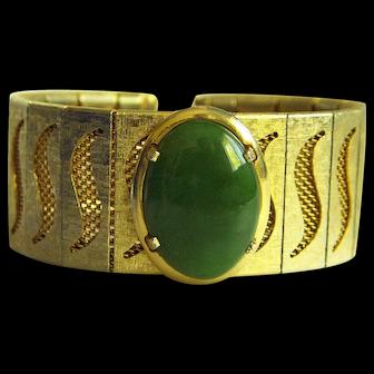 """Amazing Vintage Large Green Nephrite Jade Cabochon Bracelet 7 1/4"""""""