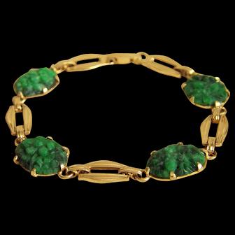 """Fabulous Vintage Fine 14K Carved Jadeite Jade Cabochon Bracelet 7 1/4"""" 13.7 g"""
