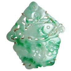Fabulous Chinese 14K Carved Jadeite Jade Brooch Pendant