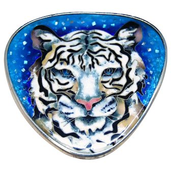 Handmade cloisonne enamel and silver pendant White Tiger.