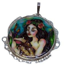 Girl with deer handmade enamel and silver pendant