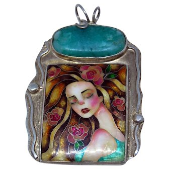 Virgin with roses silver and cloisonne enamel handmade pendant