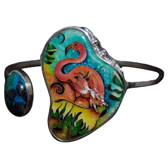 Flamingo cloisonne enamel and silver bracelet with natural persian turquoise
