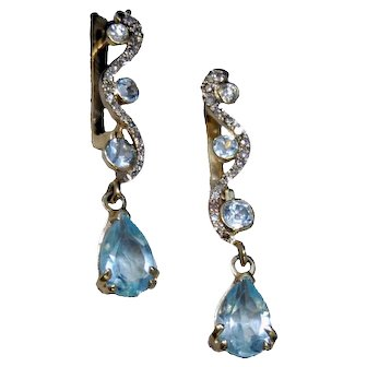 14K white and yellow Gold earrings with fine diamonds and natural aquamarines
