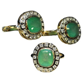 18K Gold earrings and ring with columbian emeralds and fine diamonds