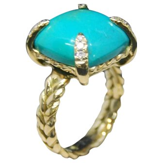 18K Gold Ring  fine diamonds and Turquoises