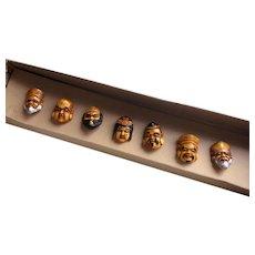 Antique, Japanese Netsuke Bakelite Buttons, the 7 Deities of Good Luck
