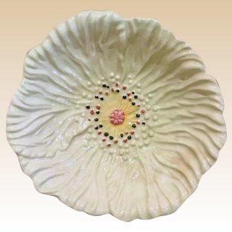 Early 1950's, Small Pedestal Dish, Light Green Poppy Flower