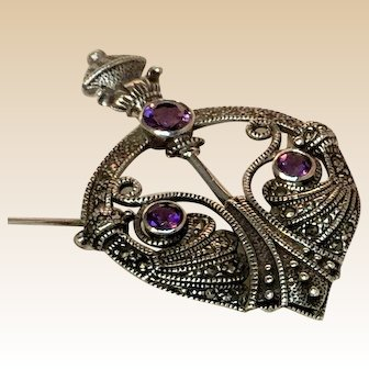 Art Deco Style, Marcasite and Amethysts Pendant or Brooch