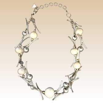 E. Bulatti Necklace, Handmade, Silver-Plated Beads with Imitation Pearls, Crystals and Rhinestones