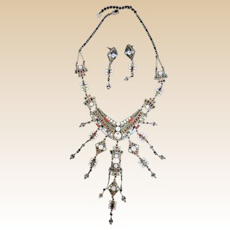 Necklace and Earrings Set with Rhinestones Crystal and Colored Glass Beads