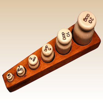 Antique, Ceramic Apothecary Scale Weights Set in a Wood Tray