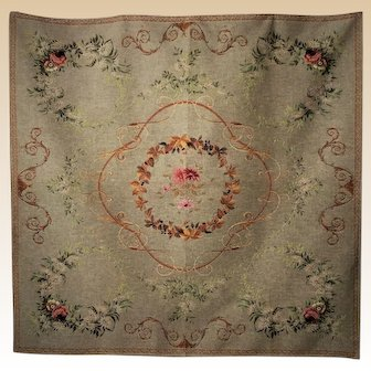 Vintage French Decor Tapestry Coverlet/Rug/Tabletop