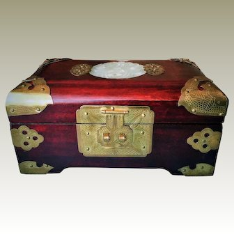 Vintage Chinese, Handmade Rosewood, Jewelry Box with Medallion