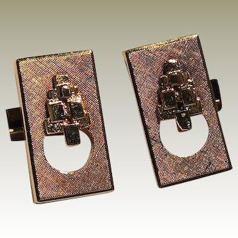 Gold Plated Lanvin Modernist Rectangular Cufflinks