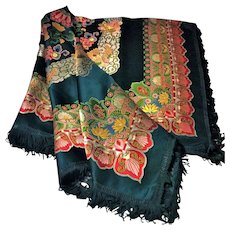 Chinese TableCloth/Piano Shawl in Embroidered Brocade and Silk Fringe