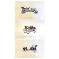 A Set of 3 Vintage Original Lithographs by Clarence P. Hornung, The Gallery of The American Automobile