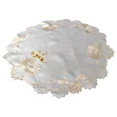 "Rare, Silk on Silk Vintage Needlework c.1920, White Embroidered 29"" Round Tablecloth"