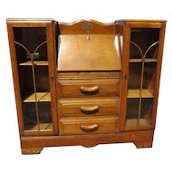 English Tiger Oak Drop Front Secretary With Side By Side Display Cabinets