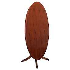 Vintage English Yew Wood Inlaid Tilt Top Parlor Table