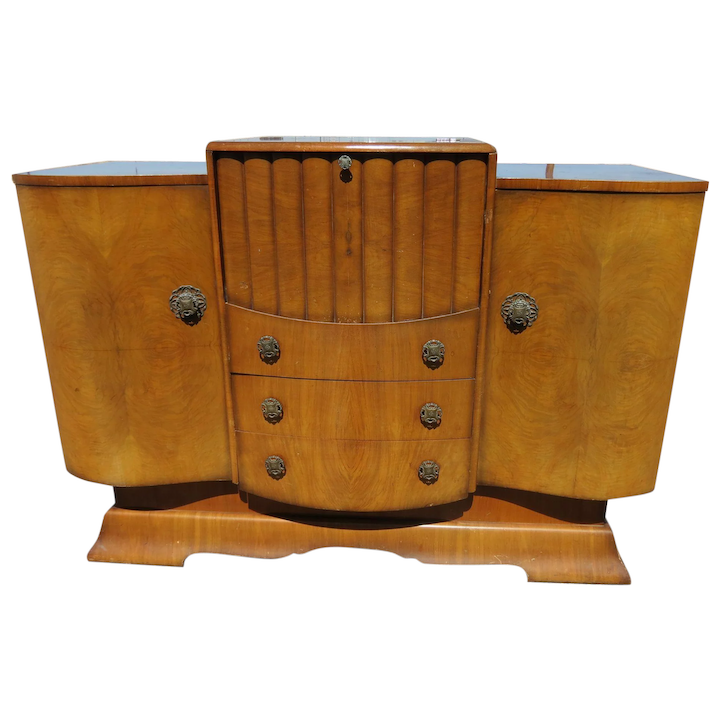 Merveilleux Mid Century Burled Walnut Cocktail Cabinet Sideboard With Music Box