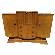 Mid Century Burled Walnut Cocktail Cabinet Sideboard With Music Box