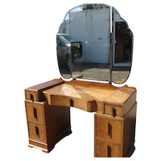 Burled Walnut Dressing Chest Or Vanity With Triple Beveled Mirrors