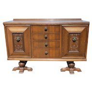 English Relief Carved Tudor Style Sideboard Buffet With Paw Feet