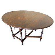 Beautiful English Barley Twist Tiger Oak Gate Leg Drop Side Oval Table