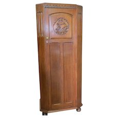 English Tiger Oak Relief Carved Hall Robe, Wardrobe Or Armoire With A Nautical Theme