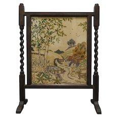 Antique English Barley Twist Needlepoint Fireplace Screen