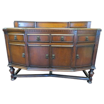 English Carved Tiger Oak Sideboard Or Buffet With Figural Hardware