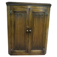 English Dark Oak Linen Fold Hanging Wall Mount Corner Cabinet