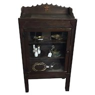 Primitive Hand Carved Farm Display Cabinet