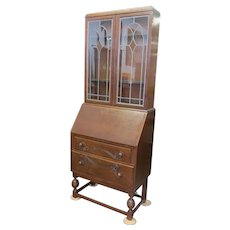 English Secretary Desk And Bookcase With Leaded Stained Glass, Relief Carving And Leather Insert
