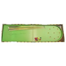 Vintage English Portable Folding Bar Billiards Table, Balls And Cue