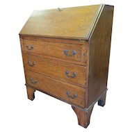 English Tiger Oak Drop Front Secretary Desk With Key