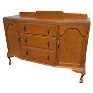 English Tiger Oak Sideboard Or Buffet With Queen Anne Legs