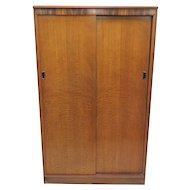 Mid Century English Austinsuite Of London Large Teak Double Door Wardrobe