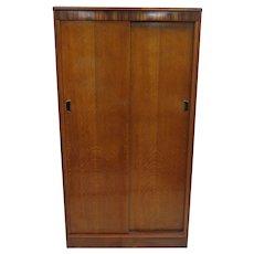 Mid Century English Austinsuite Of London Teak Double Door Gentleman's Wardrobe