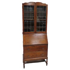 Imported English Secretary Desk With Lead Glass Bookcase Top