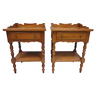 Pair Of Thomas P. Beals Solid Maple End Tables Or Night Stands - Portland, Maine