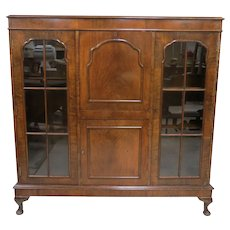 Vintage English Side By Side Secretary Desk And Bookcase