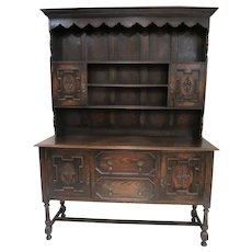 Imported English Jacobean Plate Rack Dresser, Buffet Or Sideboard