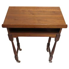Vintage Wood Book Stand, Podium Or Lectern With Wood Casters Wheels