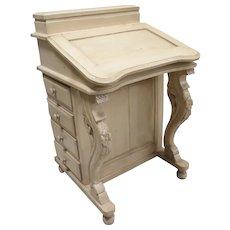 Vintage Solid Carved Wood Painted Davenport Desk Or Captain's Desk