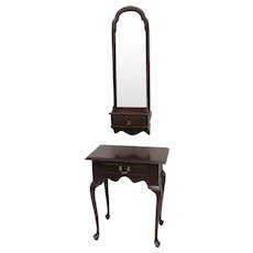 Vintage Ethan Allen Cherry Wood Console Or Hall Table Entryway Piece With Matching Mirror