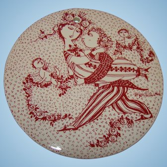 "Bjørn Wiinblad  set of 12 red wall plaques-""Love story ""plates-1970"