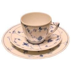 Bing & Grondahl porcelain-blue fluted coffee trio